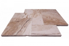 Tiramisu Tumbled French Pattern Pavers. Also Available In 6x12, 12x12, 16x16, 16x24, Copings