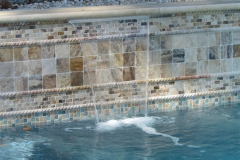 Scabos Tumbled 4x4, 1x2 Mosaic, Rope Trim, Also: Blue Glass/Ivory 1x1 Blend Waterline/Ivory 12x48x2 Coping
